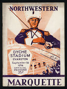 1934 Marquette At Northwestern Ncaa Football Program Excellent Condition