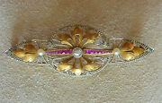 Vintage Platinum 18k. Gold Ruby Pearl And Diamond Pin- Approx. .35cts.