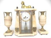 Antique French Victorian Japy Frerese Alabaster Mantel Clock W/ Sphinx