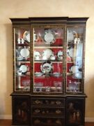 Antique Oriental Dining Set China Cabinet Table Chairs Leaf