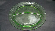 1930s Green Depression Glass Cameo, Ballerina, Dancing Girls 10 Grill Plate