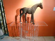 Antique Wood Carved Horse Sculpture Amazing...leather. Great For Mid-century