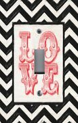 Light Switch Plate Switchplate And Outlet Covers Chevron Black White Red Love