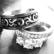 His And Hers 3 Pieces Antique Style Stainless Steel Engagement Wedding Rings Set