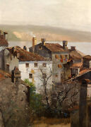 Oil Painting View Wisps Of Smoke Rose Continuously From The Village Chimneys