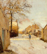 Perfect Oil Painting Nice Landscape A Village Street In Winter With Woman Canvas