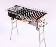 Stainless Steel Charcoal Grill Kebab Bbq Portable Mangal +10 Free Skewers
