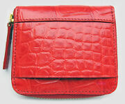 Red Genuine Crocodile Belly Skin Leather Exotic Zipped Coins Wallet New
