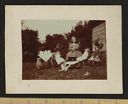 Super Photo Girl Dolls Tea Party Stuffed Dogs - C 1890s Thayer Family Upstate Ny