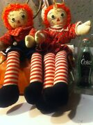 Vintage Unique Raggedy Ann And Andy Dolls - Excellent Condition Toy Gift Antique