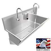 Wash Up Hand Sink 2 Station Multiuser 48 Elec Faucet 12 Bowl Deep Made In Usa