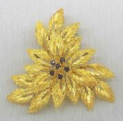 Elegant Ladies And Co. 18k Yellow Gold Sapphire Leaf Floral Brooch Pin