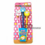Cute Animal 3pcs Pencil With Eraser Gift Goody Stationary Set Pink