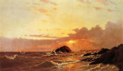 Perfect Oil Painting Francis A. Silva - Off Newport, Rhode Island And Waves Sunset