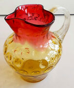 Vintage Hand Blown Multi-color Yellow Pink Red Glass Pitcher/vase W/bubbles 1960