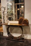 60 W Console Table Windsor Finish Aged Gilt Solid Walnut Base Ring Design Gm