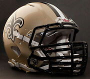 New Orleans Saints Nfl Riddell Speed Football Helmet With Big Grill S2bdc-ht-lw