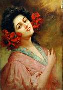 20th Century Signed Italian Oil Painting Of Spanish Dancer With Flowers