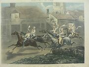 J Harris Engraving Nacton Church And Village The First Steeple Chase On Recor
