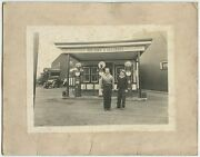 Early Gas Station W/ 3 Pumps And Vintage Car Antique Photo