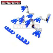 Universal Blue Chrome Steel Spark Plug Wire Loom Dividers Clips Chevy Ford Mopar