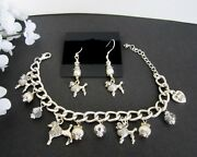 Poodle Dog Charm Bracelet And Earrings W/ Fresh Water Pearls And Crystals