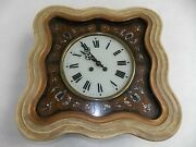 Antique French Napoleon Iii Picture Frame Wall Clock W/ Mother Of Pearl