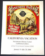 Rare Yosemite Brand Earl Fruit Western 1988 Event Poster Orange Crate Label