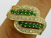 R110- Genuine 9k 9ct Solid Gold Natural Emerald And Diamond Swirl Ring Size N