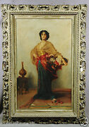 W. Koch 19th Century Oil Painting Of Woman Holding Flower Basket