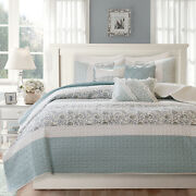 Beautiful Chic Country Blue White Shabby Cozy Cottage Ruffle Quilt Set King Sz