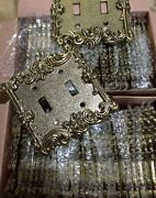 56 Brass Gold Cast Victorian Rose Vine Double Switch Plate Covers Vintage Outlet