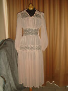 Edwardian Antique 30s Sheer Lace Ruffle Wedding Lawn Pink Tea Party Dress Gown