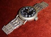 Rare Wwi Us Army Wristwatch By Elgin With 1920s Russian Silver Deco Band