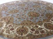 8 X 8 Round Light Blue Agra Oriental Area Rug Large Hand Knotted Wool