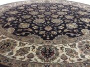 7.8 X 7.8 Round Black Geometric Oriental Rug Wool And Silk Hand Knotted