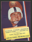1952 Green Bay Packers Philadelphia Eagles Nfl Game Program Top Condition