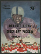 1953 Green Bay Packers Detroit Lions Nfl Game Program Quality Item