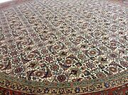 8' X 8' Round Geometric Oriental Area Rug Ivory Wool Hand Knotted Carpet Foyer