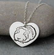 Guinea Pig Love Necklace - Fine Silver Handmade Heart Charm On Sterling Chain