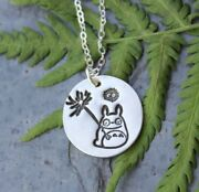 Totoro And Soot Sprite Necklace- Fine Silver Handmade Circle Charm Sterling Chain