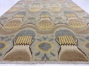 6and039 X 9and039 Modern Light Blue Yellow Fine Geometric Oriental Area Rug Hand Knotted