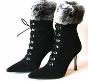 Gorgeous Sold Out Nwb 1845 Black Suede Manolo Blahnik Boots With Fur Trim