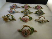 Signed Germany Name Card Holders Set Of 10 Rare Color Antique Large Size