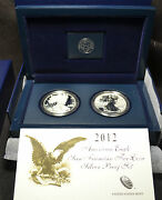 3113 - 2012 S - Us Mint American Eagle Two Coin Silver Proof Set - Coa