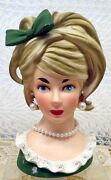 Relpo Lady Planter Head 7 1/2 Vase K-1612 In Green With Bow And Faux Pearls