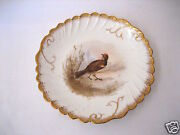 Antique Lsands Limoges China France 9 1/4 Hand Painted Game Bird Gamebird Plate 6