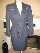 Stunning New 3200 Navy Thierry Mugler Skirt Suit With Tiny White Dots