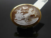 18ct Yellow Gold Roman Chariot Conch Brooch Horse And Chariot Conch Cameo Brooch
