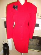Stunning 3700 Deep Red Asymmetrical Thierry Mugler Jacket And Skirt Suit